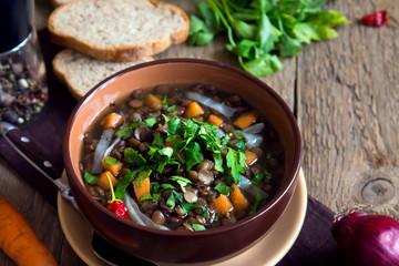 Vegetarian lentil soup (stew)