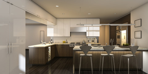 3d rendering beautiful style warm light kitchen