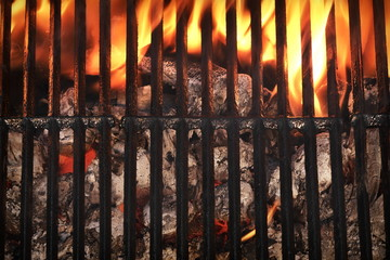 Top View Of Empty Barbecue Grill With Glowing Charcoal
