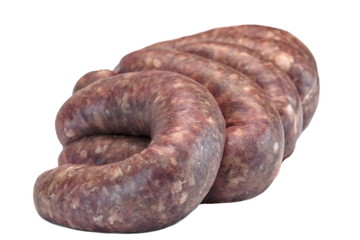 Some Raw Bratwurst In Natural Casing Isolated On White