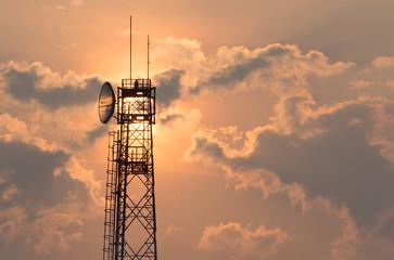 Communication tower at sunrise Fototapete