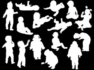 fifteen child silhouettes collection on black