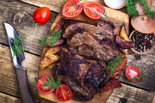 Homemade roasted beef shoulder