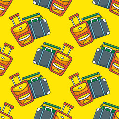 Travel luggage on yellow background seamless pattern