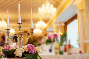 Candlestick in banquet hall