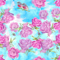 the pattern of peonies and a bird. The turquoise color and pink peonies, bird on branch. Watercolor painting. Can be used for postcards, prints and design