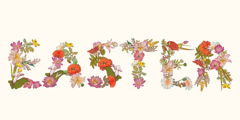 "Word ""Easter"" of flower letters."
