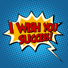 i wish you success explosion bubble retro comic book text