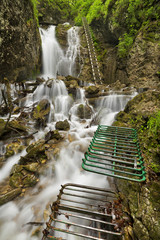 Hiking trail through a lush gorge in Slovenský Raj, Slovakia