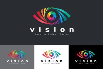 Eye logo vector - rainbow colorful tone is mean vision creative idea and design
