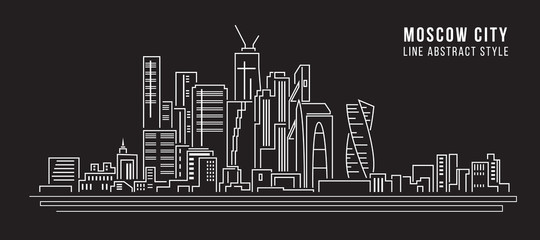 Cityscape Building Line art Vector Illustration design - moscow city