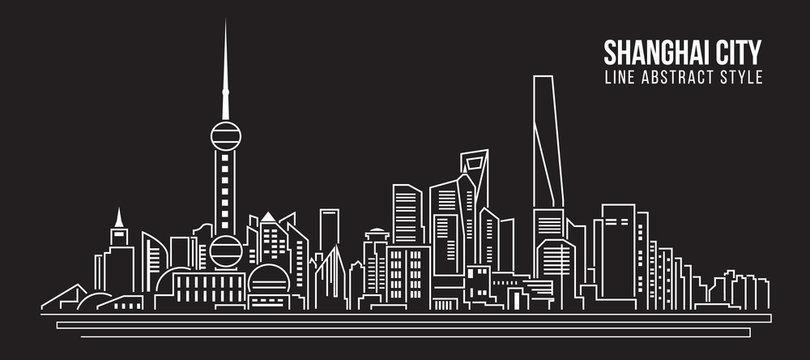 Cityscape Building Line art Vector Illustration design - Shanghai city
