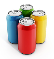 Colorful soda cans