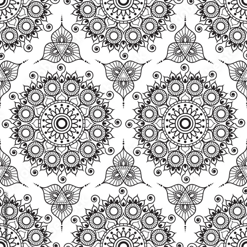 Background With Black And White Mehndi Henna Seamless Lace Buta