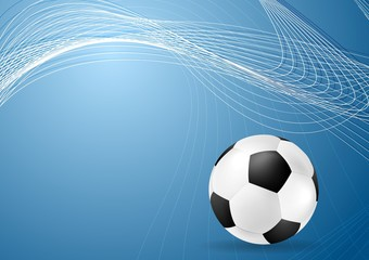Abstract blue wavy soccer background with ball