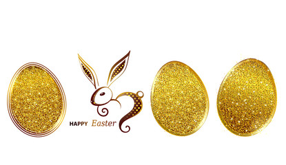 Happy Easter greeting card with gold rabbit icon and eggs