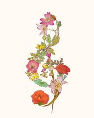 treble clef of flowers.