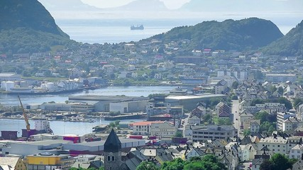 Fototapete - Alesund panoramic view from Aksla mountain, Norway