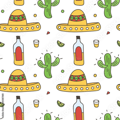 Mexican Seamless Pattern Background With Sombrero Tequila Lime Cactus Cinco De Mayo