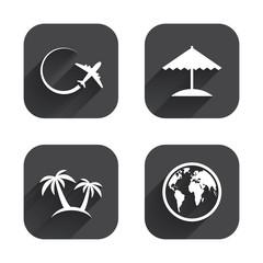 Travel trip icon. Airplane, world globe symbols.
