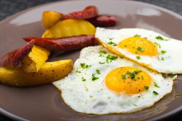 hearty breakfast of eggs