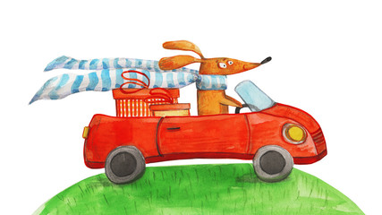 Dog with gifts in car. Watercolor illustration
