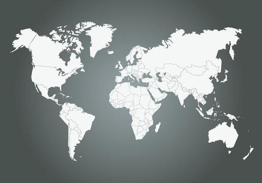 Mappemonde Vectorielle, avec découpage des pays