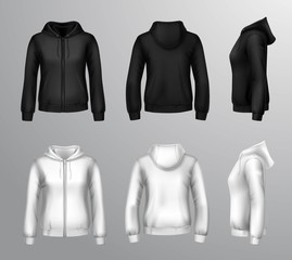 Women Black And White Hooded Sweatshirts