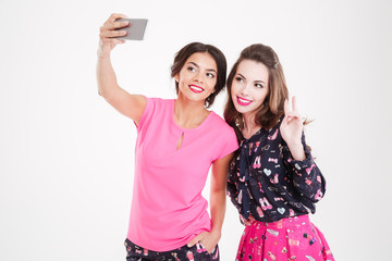 Two cheerful attractive women standing and taking selfie with smartphone