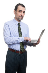 businessman using laptop isolated