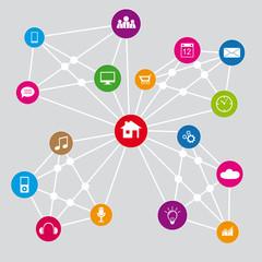 Internet Netzwerk Infografik mit Verbindung zwischen Web Buttons mit Icons,