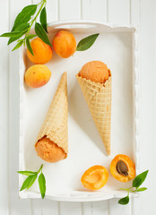 Homemade ice cream from apricots.