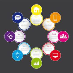 Infografik Vorlage für Webseite mit Icons auf farbigen Buttons