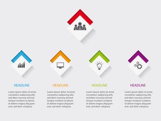 Infografik Vorlage für Webseite mit icons auf Quadratischen Buttons vor farbigem Hintergrund