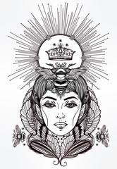 Queen Bee portriat as a woman vector art.