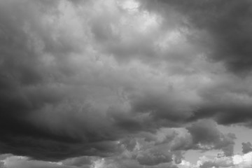 Cloudy sky over horizon, dark, gray. Storm sky, rain.