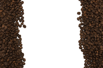Coffee beans on border of image with white background