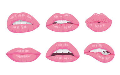 High detailed glossy lips and mouth vector illustration. Open, close up.
