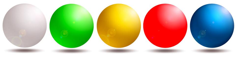 5 farbige Kugeln, blau, rot, gelb, grün, weiß