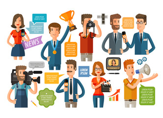 business infographics. journalism and TV icons set. vector illustration
