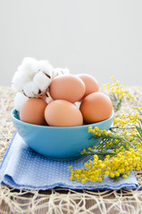 Eggs in blue bowl, cotton flowers and mimosa