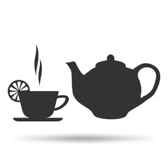 A Cup of hot tea with lemon and teapot icons