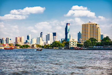 Fototapete - Business district from Jaopraya river in Bangkok, Tailand.