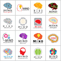 Mind Icons Set - Vector Illustration