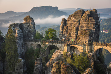The Bastei bridge, Saxon Switzerland National Park, Germany Wall mural