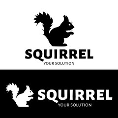 Vector logo squirrel. Brand logo in the shape of a silhouette of a squirrel
