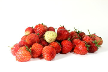 Strawberry's white among the red