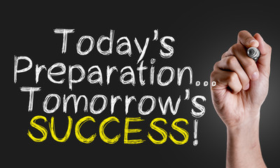 Hand writing the text: Todays Preparation... Tomorrows Success! Wall mural