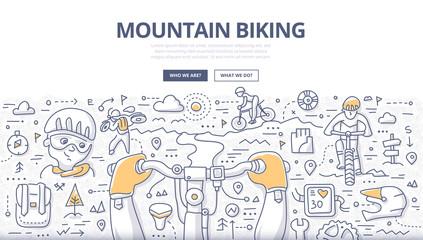 Mountain Biking Doodle Concept