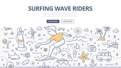 Surf Wave Riders Doodle Concept